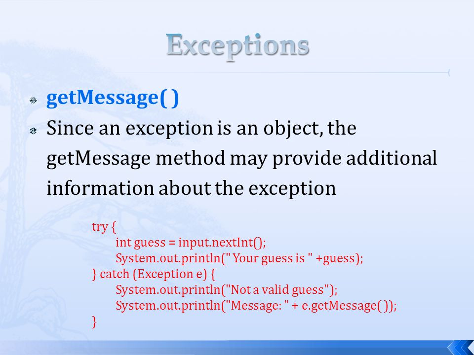  getMessage( )  Since an exception is an object, the getMessage method may provide additional information about the exception try { int guess = input.nextInt(); System.out.println( Your guess is +guess); } catch (Exception e) { System.out.println( Not a valid guess ); System.out.println( Message: + e.getMessage( )); }