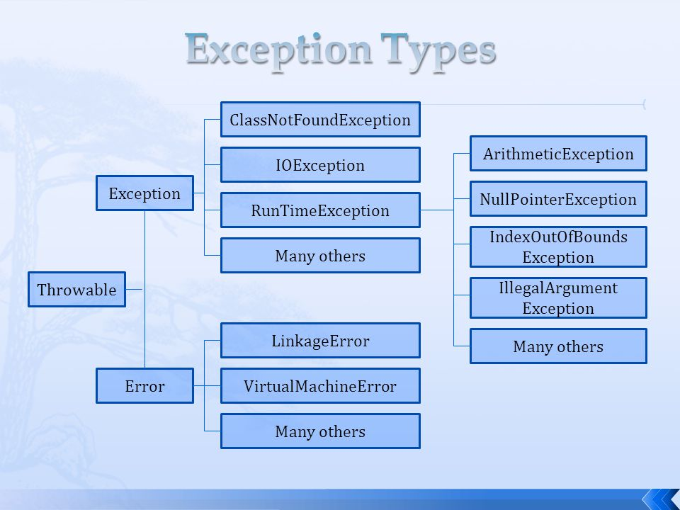 Throwable Exception Error ClassNotFoundException IOException RunTimeException Many others LinkageError VirtualMachineError Many others ArithmeticException NullPointerException IndexOutOfBounds Exception IllegalArgument Exception Many others
