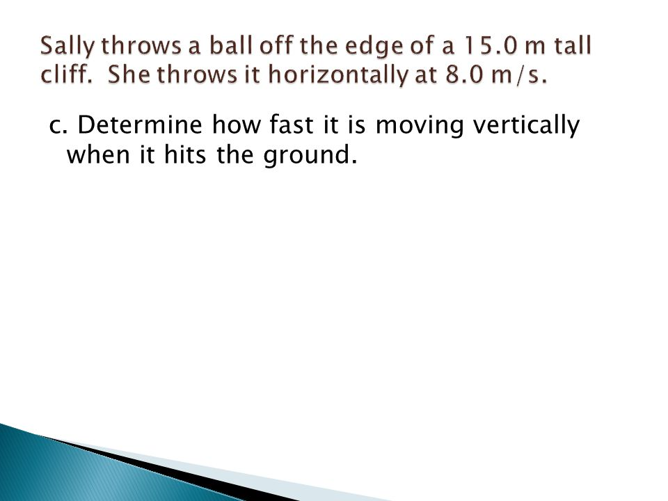 c. Determine how fast it is moving vertically when it hits the ground.