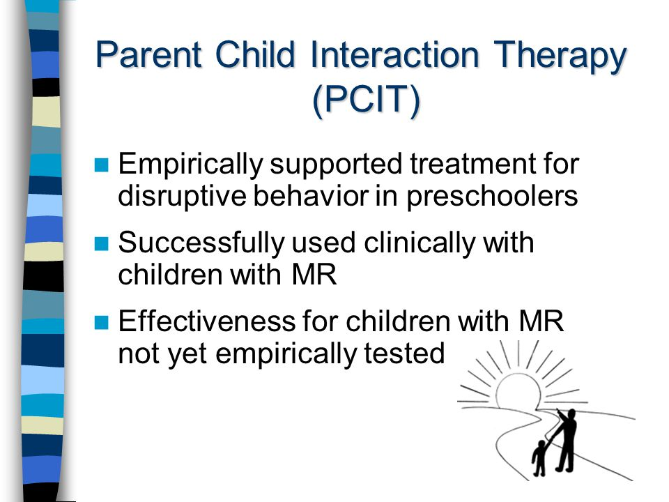 Parent Child Interaction Therapy (PCIT) Empirically supported treatment for disruptive behavior in preschoolers Successfully used clinically with children with MR Effectiveness for children with MR not yet empirically tested