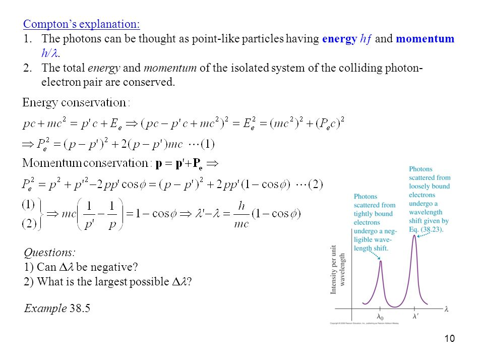10 Compton's explanation: 1.The photons can be thought as point-like particles having energy hƒ and momentum h/.