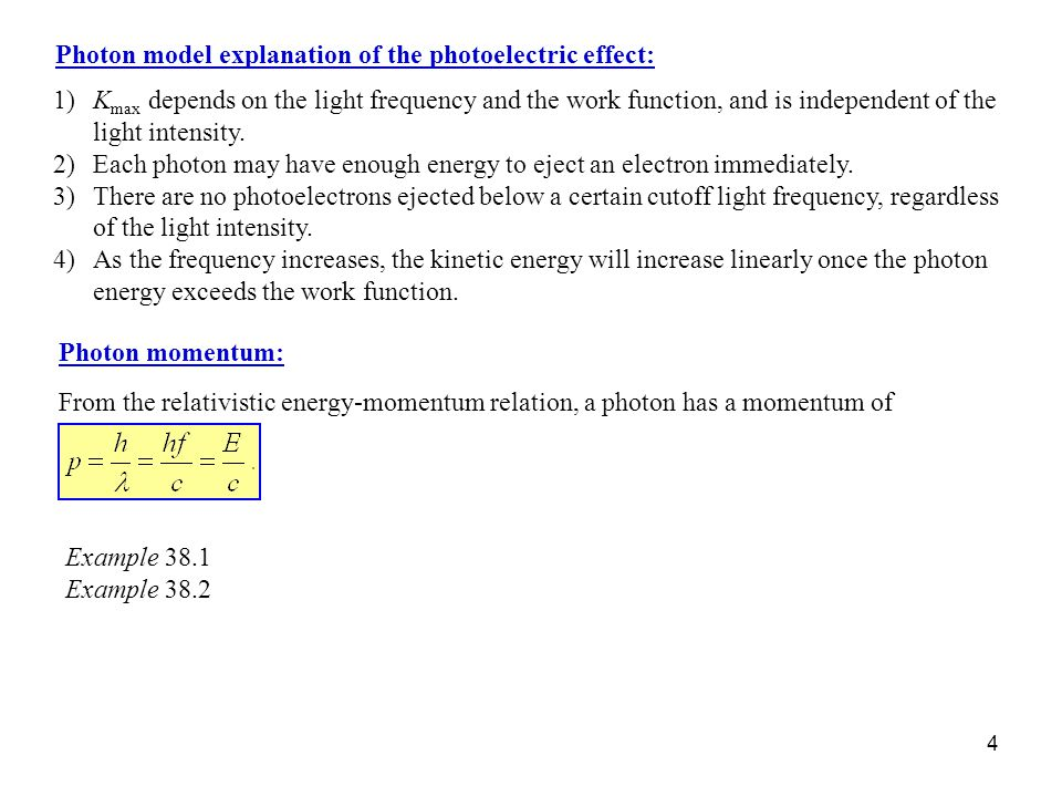 4 Photon model explanation of the photoelectric effect: 1)K max depends on the light frequency and the work function, and is independent of the light intensity.