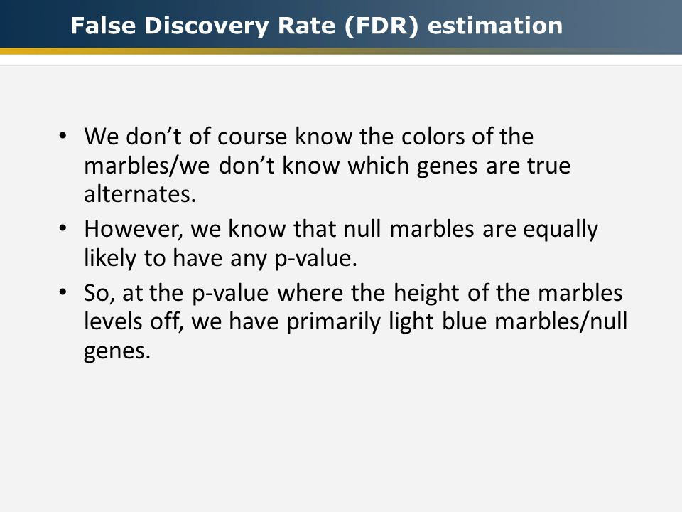 We don't of course know the colors of the marbles/we don't know which genes are true alternates.