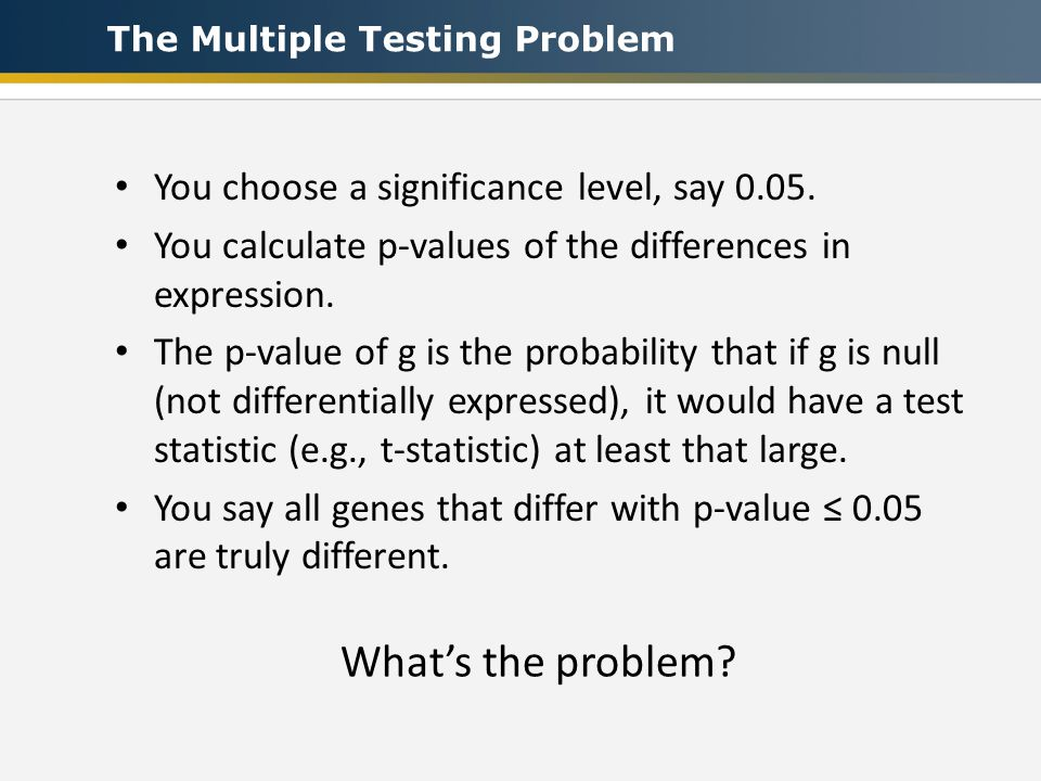 You choose a significance level, say You calculate p-values of the differences in expression.