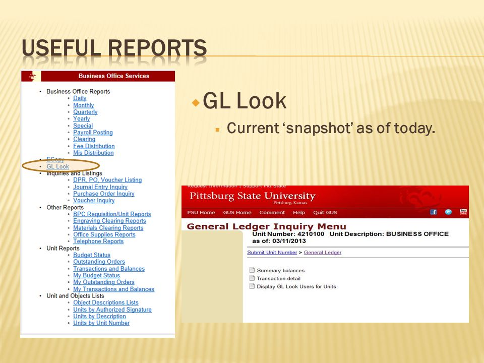  GL Look  Current 'snapshot' as of today.