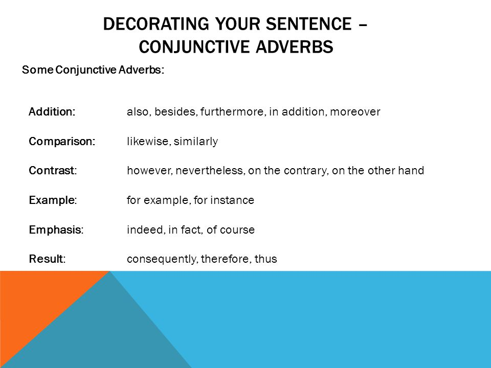 Grammar Semicolons And Conjunctive Adverbs Decorating Your