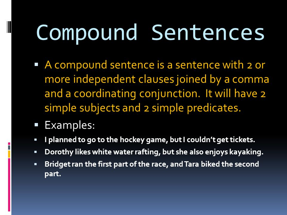 types of sentences  simple  compound  complex  compound