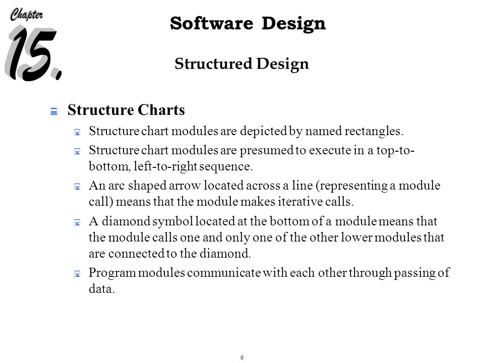 6 Software Design Structured Design  Structure Charts  Structure chart modules are depicted by named rectangles.