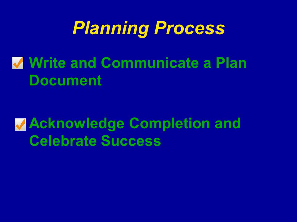 Planning Process Write and Communicate a Plan Document Acknowledge Completion and Celebrate Success