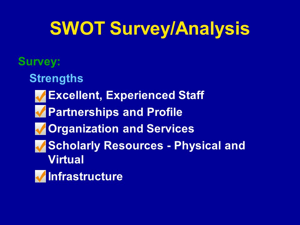 SWOT Survey/Analysis Survey: Strengths Excellent, Experienced Staff Partnerships and Profile Organization and Services Scholarly Resources - Physical and Virtual Infrastructure