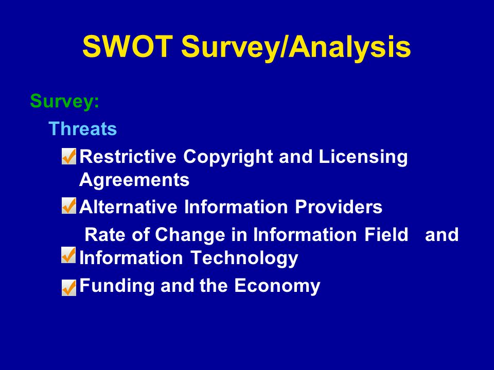 SWOT Survey/Analysis Survey: Threats Restrictive Copyright and Licensing Agreements Alternative Information Providers Rate of Change in Information Field and Information Technology Funding and the Economy