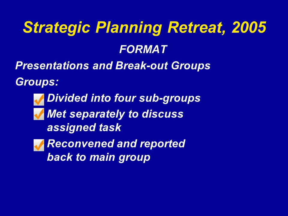 Strategic Planning Retreat, 2005 FORMAT Presentations and Break-out Groups Groups: Divided into four sub-groups Met separately to discuss assigned task Reconvened and reported back to main group