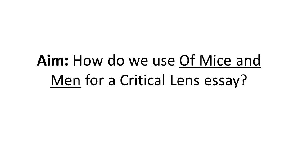 Aim: How do we use Of Mice and Men for a Critical Lens essay