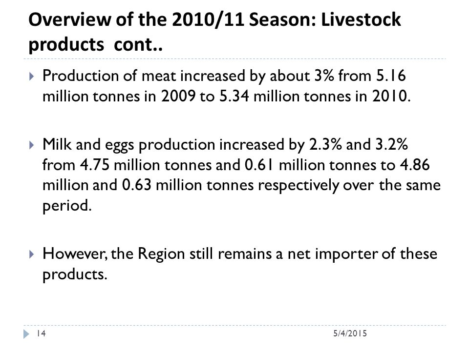 Overview of the 2010/11 Season: Livestock products cont..