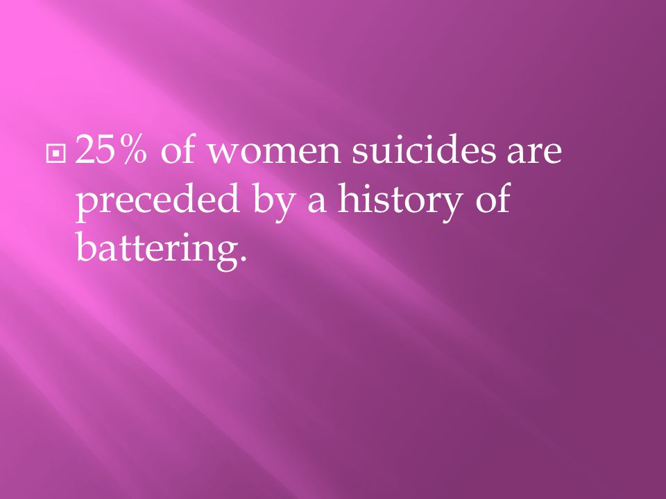 225% of women suicides are preceded by a history of battering.