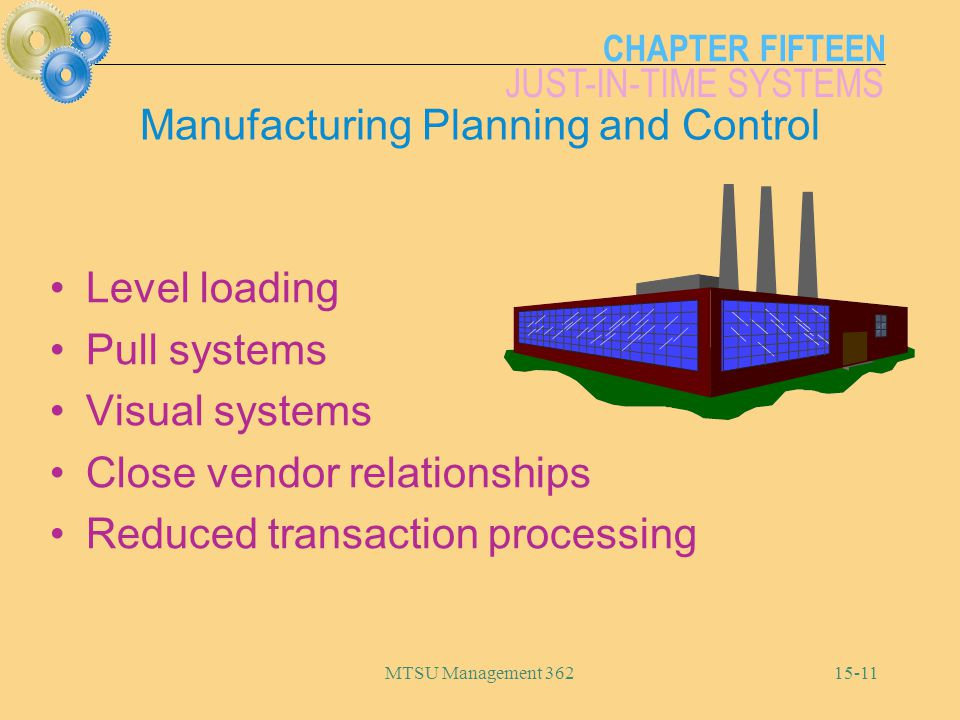CHAPTER FIFTEEN JUST-IN-TIME SYSTEMS MTSU Management Manufacturing Planning and Control Level loading Pull systems Visual systems Close vendor relationships Reduced transaction processing
