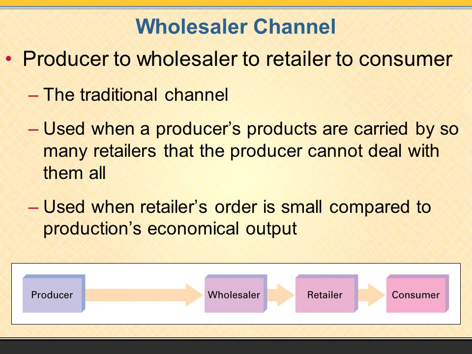 Wholesaler Channel Producer to wholesaler to retailer to consumer –The traditional channel –Used when a producer's products are carried by so many retailers that the producer cannot deal with them all –Used when retailer's order is small compared to production's economical output