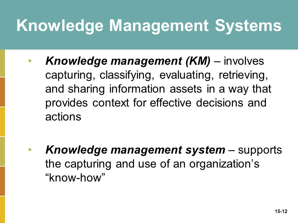 15-12 Knowledge Management Systems Knowledge management (KM) – involves capturing, classifying, evaluating, retrieving, and sharing information assets in a way that provides context for effective decisions and actions Knowledge management system – supports the capturing and use of an organization's know-how
