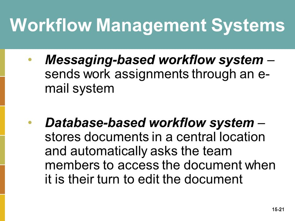 15-21 Workflow Management Systems Messaging-based workflow system – sends work assignments through an e- mail system Database-based workflow system – stores documents in a central location and automatically asks the team members to access the document when it is their turn to edit the document