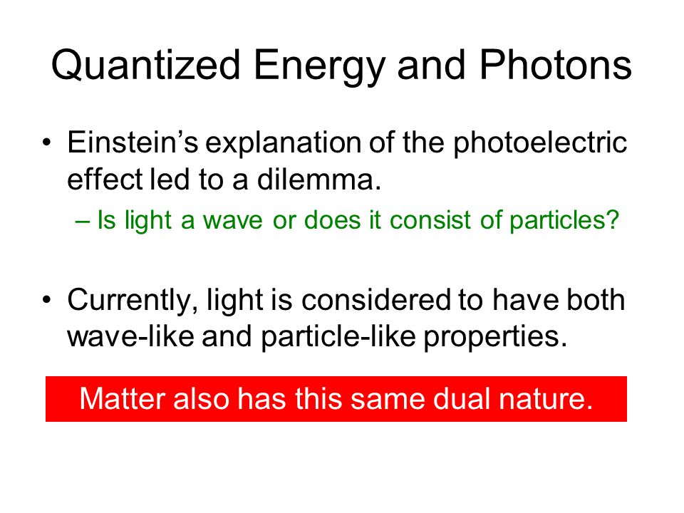 Quantized Energy and Photons Einstein's explanation of the photoelectric effect led to a dilemma.