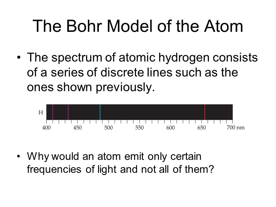 The Bohr Model of the Atom The spectrum of atomic hydrogen consists of a series of discrete lines such as the ones shown previously.