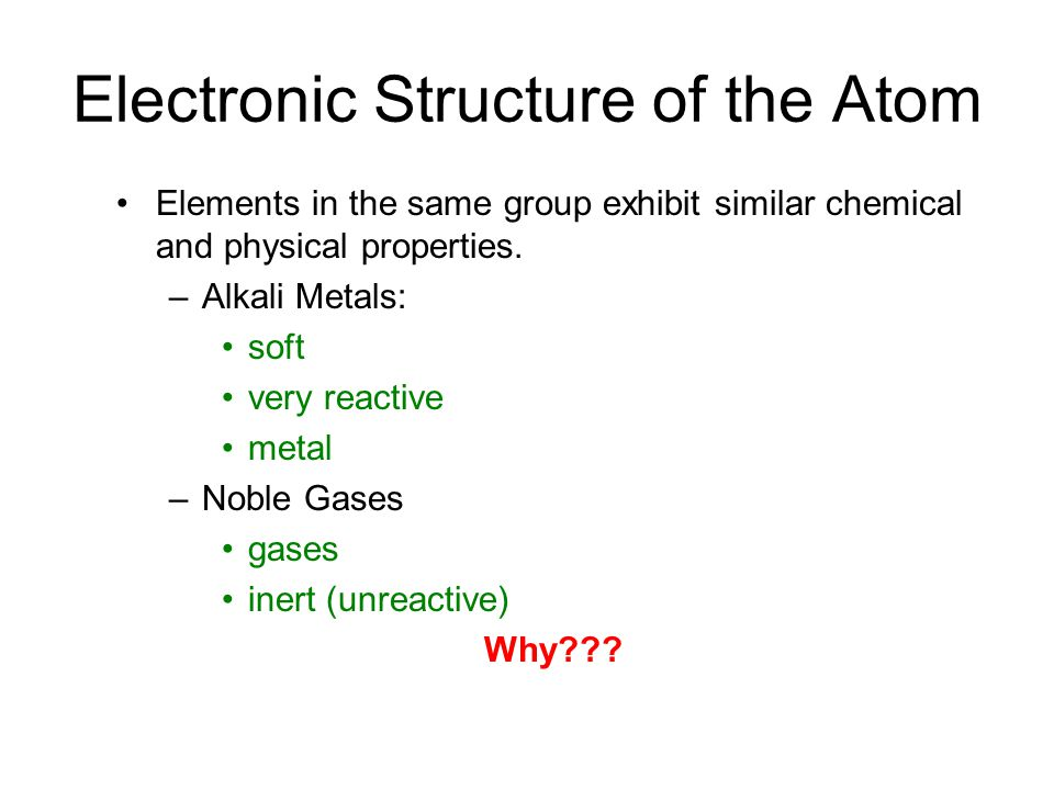 Electronic Structure of the Atom Elements in the same group exhibit similar chemical and physical properties.