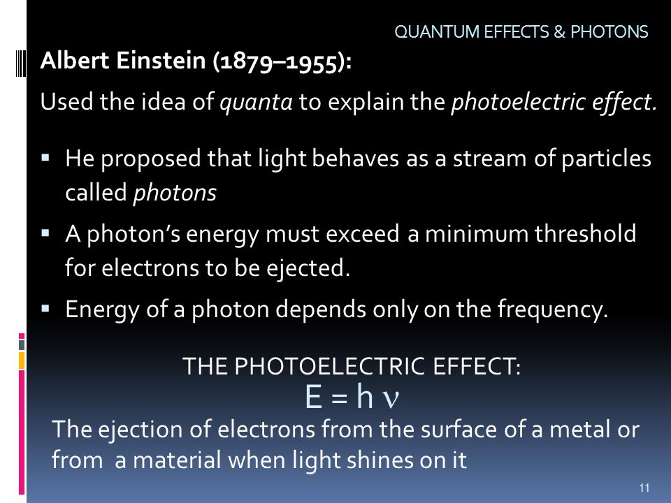Albert Einstein (1879–1955): Used the idea of quanta to explain the photoelectric effect.