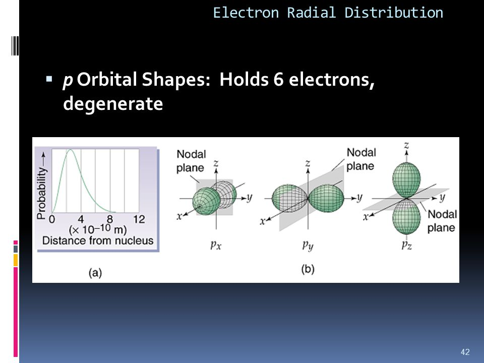 Electron Radial Distribution  p Orbital Shapes: Holds 6 electrons, degenerate 42