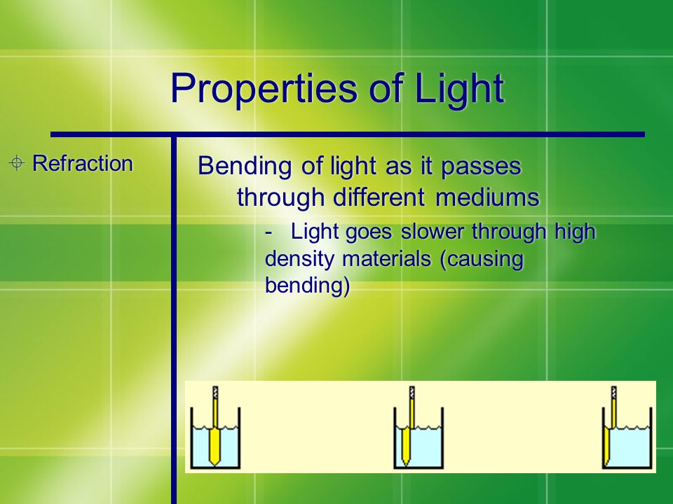 Properties of Light  Refraction Bending of light as it passes through different mediums - Light goes slower through high density materials (causing bending)