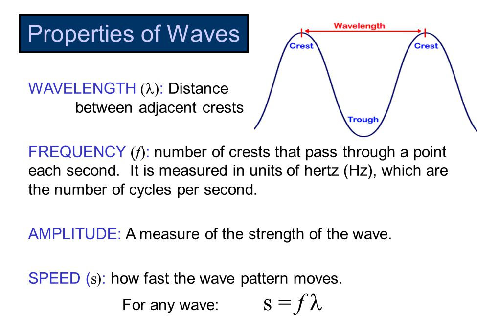 Properties of Waves WAVELENGTH (  : Distance between adjacent crests FREQUENCY (f) : number of crests that pass through a point each second.