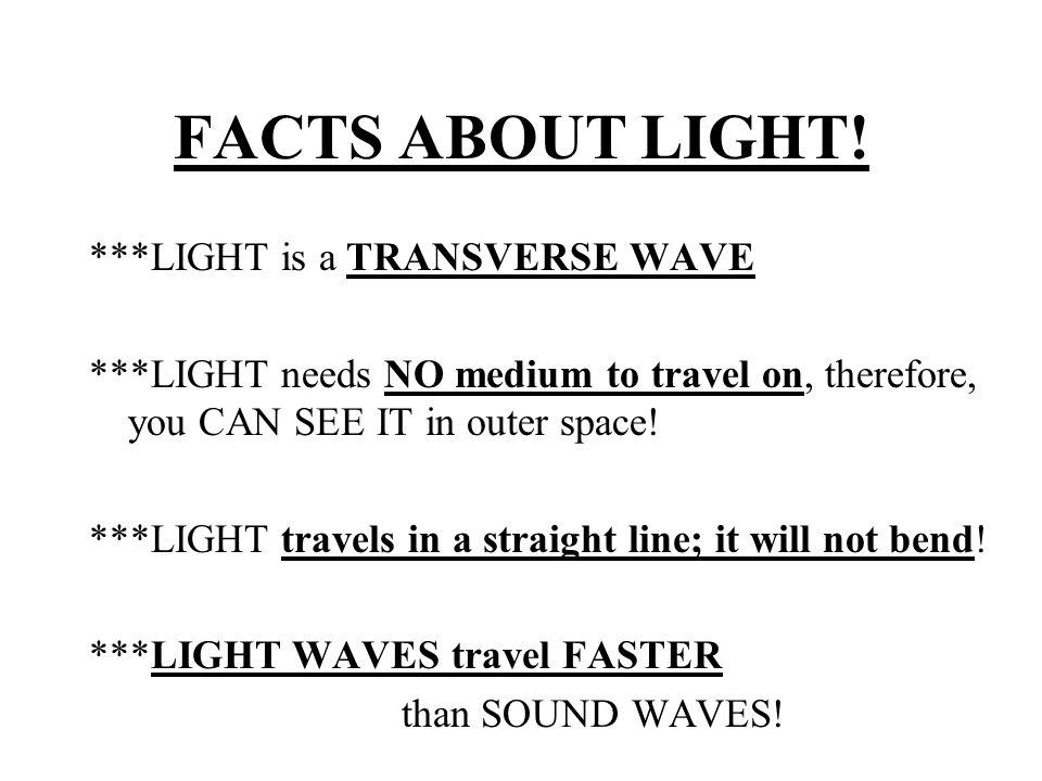 FACTS ABOUT LIGHT.