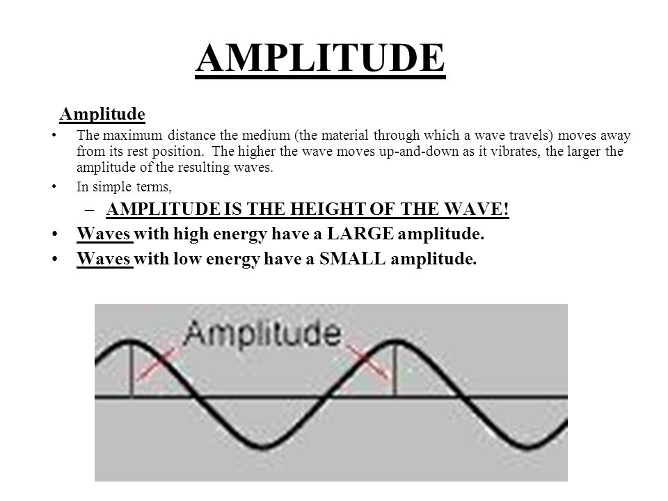 AMPLITUDE Amplitude The maximum distance the medium (the material through which a wave travels) moves away from its rest position.