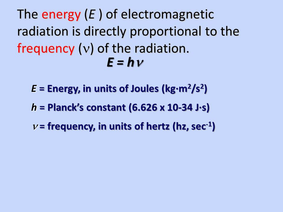 E = h E = h E = Energy, in units of Joules (kg·m 2 /s 2 ) h = Planck's constant (6.626 x J·s) = frequency, in units of hertz (hz, sec -1 ) = frequency, in units of hertz (hz, sec -1 ) The energy (E ) of electromagnetic radiation is directly proportional to the frequency ( ) of the radiation.