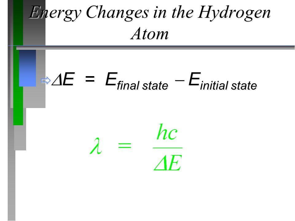 Energy Changes in the Hydrogen Atom   E = E final state  E initial state