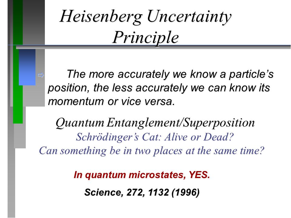 Heisenberg Uncertainty Principle  The more accurately we know a particle's position, the less accurately we can know its momentum or vice versa.