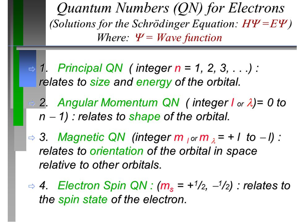 Quantum Numbers (QN) for Electrons (Solutions for the Schrödinger Equation:  =  ) Where:  = Wave function  1.Principal QN ( integer n = 1, 2, 3,...) : relates to size and energy of the orbital.
