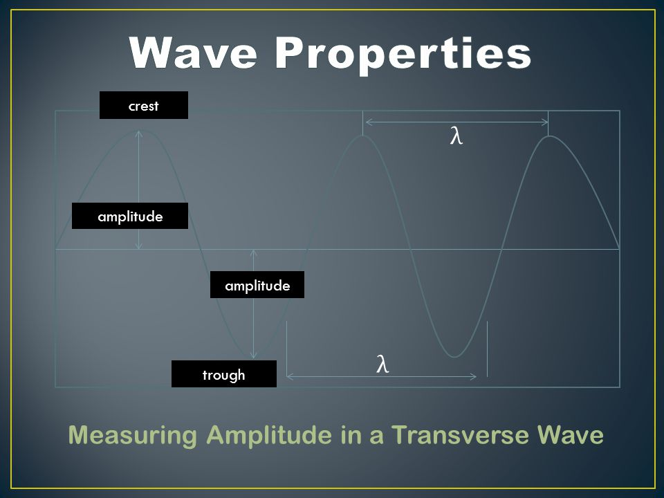 Measuring Amplitude in a Transverse Wave amplitude crest trough