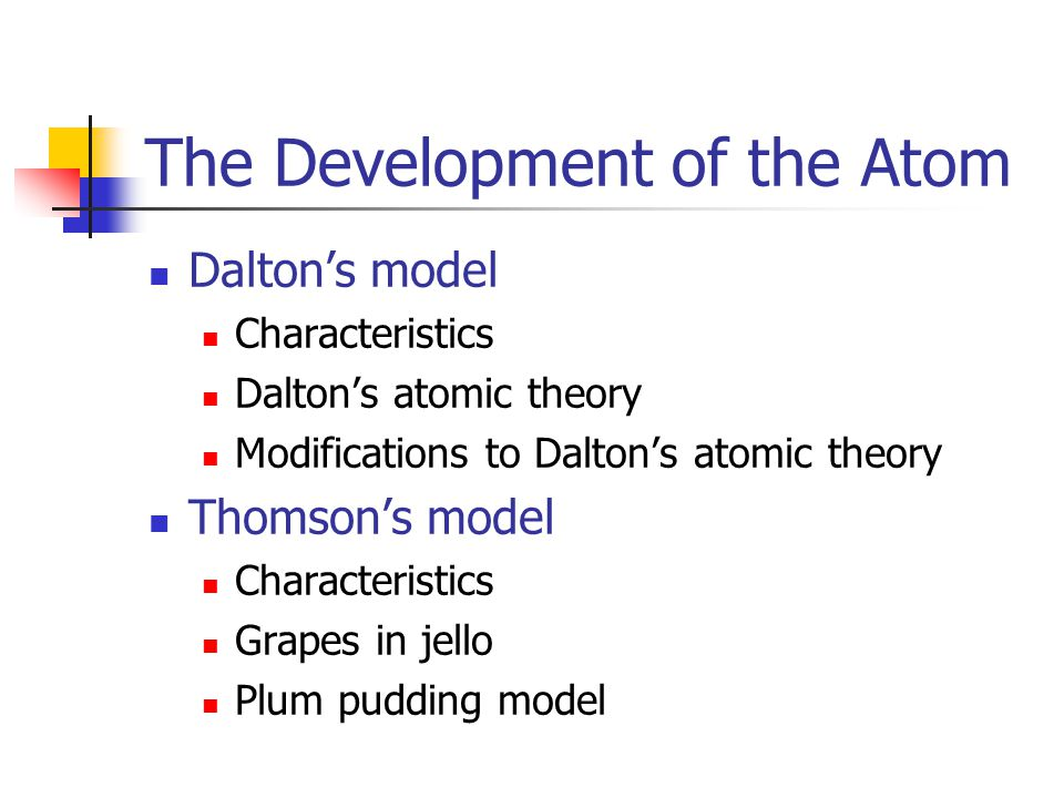 The Development of the Atom Dalton's model Characteristics Dalton's atomic theory Modifications to Dalton's atomic theory Thomson's model Characteristics Grapes in jello Plum pudding model