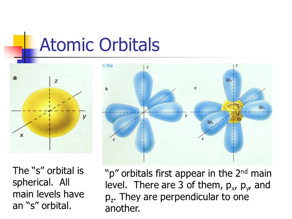 Atomic Orbitals The s orbital is spherical. All main levels have an s orbital.