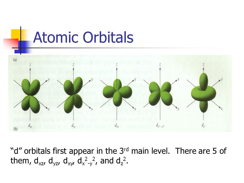 Atomic Orbitals d orbitals first appear in the 3 rd main level.