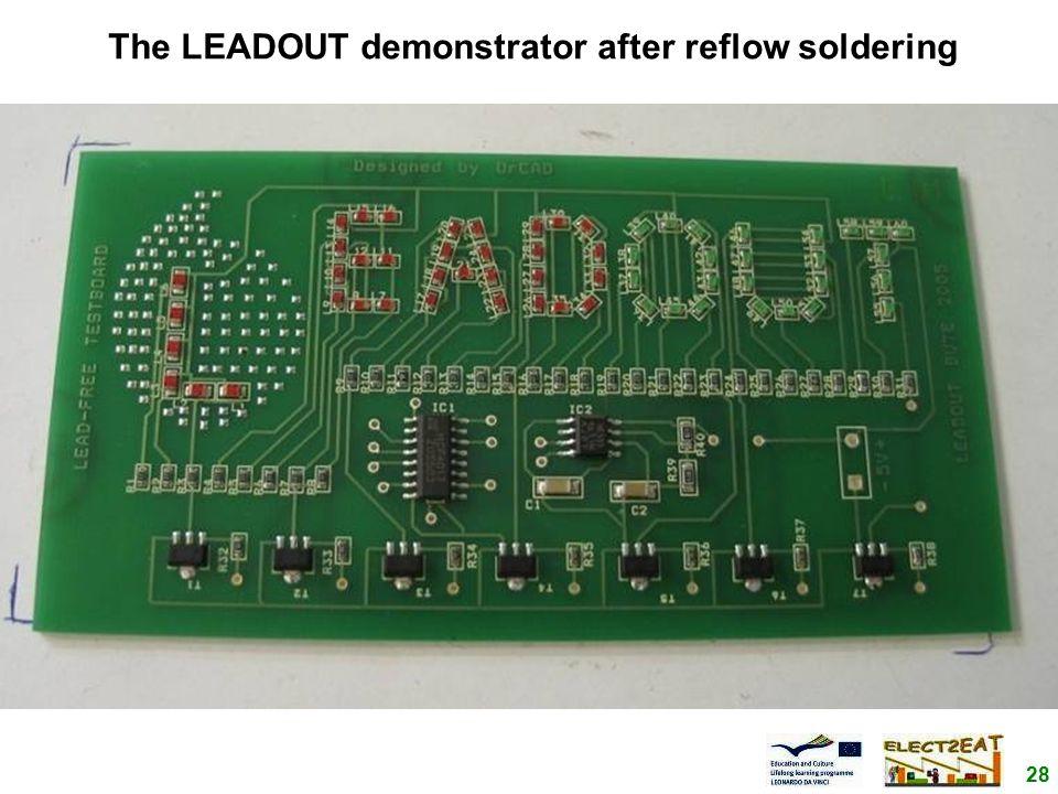 28 The LEADOUT demonstrator after reflow soldering