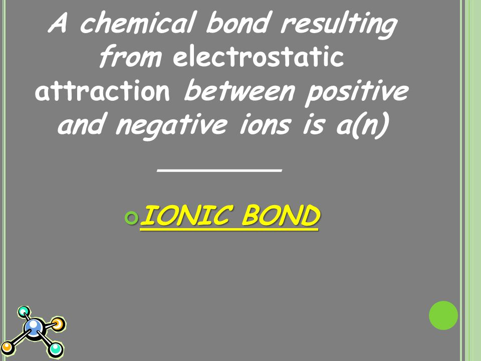 A chemical bond resulting from electrostatic attraction between positive and negative ions is a(n) _______ IONIC BOND