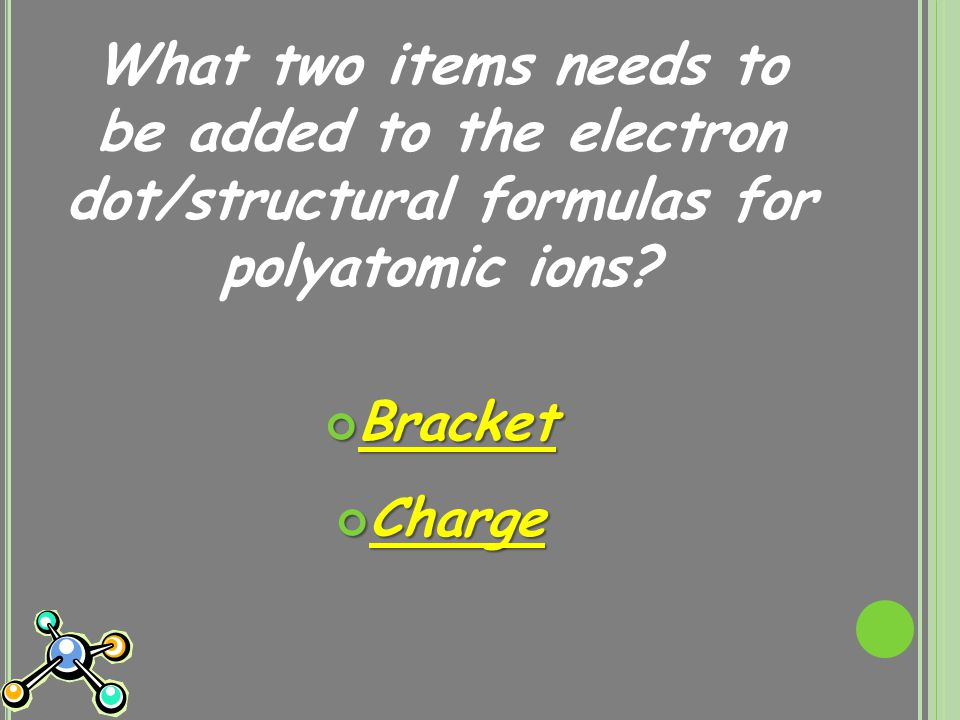 What two items needs to be added to the electron dot/structural formulas for polyatomic ions.