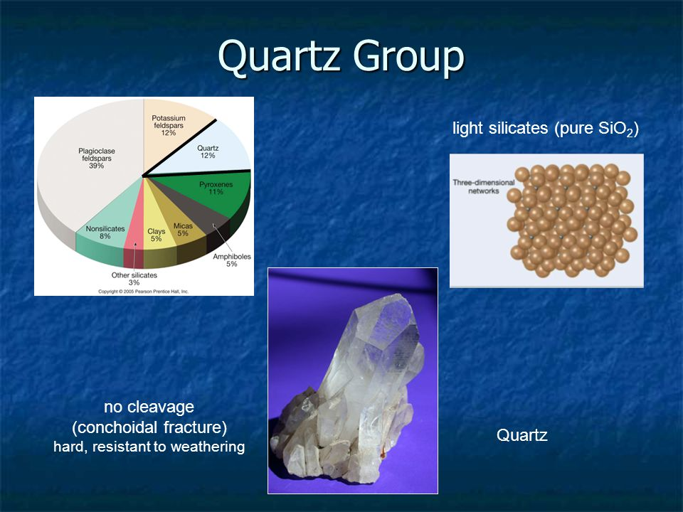 Quartz Group light silicates (pure SiO 2 ) no cleavage (conchoidal fracture) hard, resistant to weathering Quartz