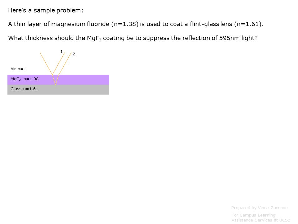 Prepared by Vince Zaccone For Campus Learning Assistance Services at UCSB Air n=1 MgF 2 n=1.38 Glass n= Here's a sample problem: A thin layer of magnesium fluoride (n=1.38) is used to coat a flint-glass lens (n=1.61).