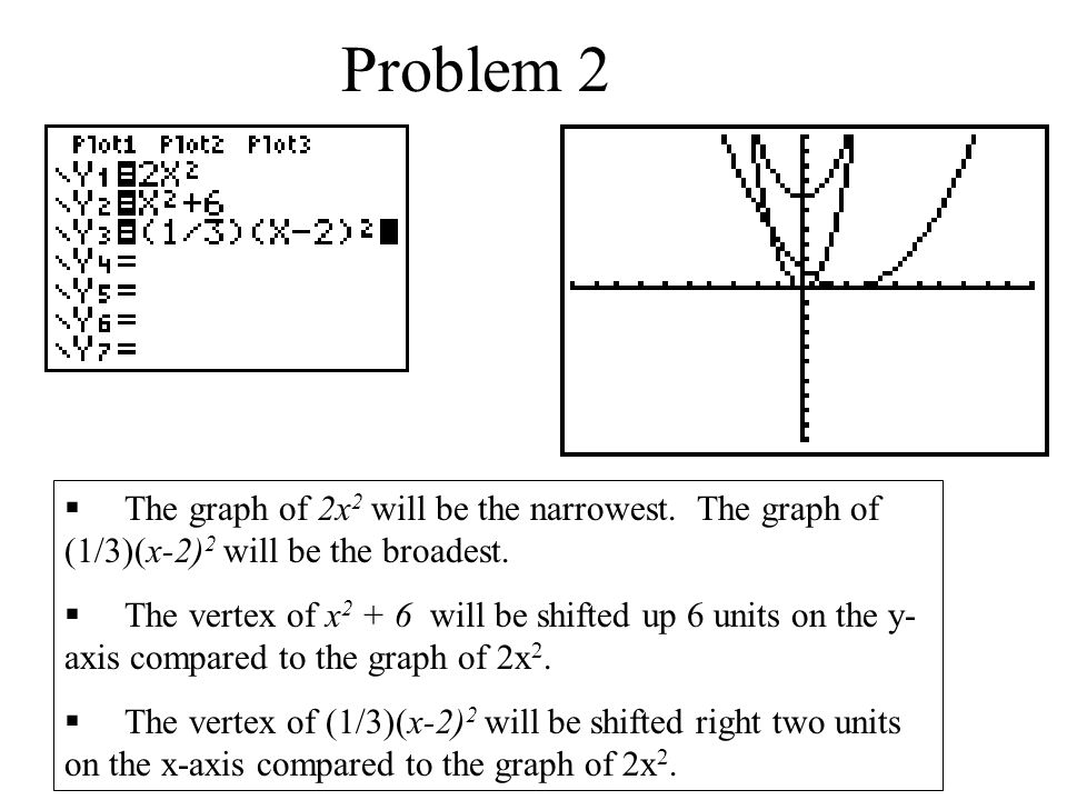 Problem 2  The graph of 2x 2 will be the narrowest.