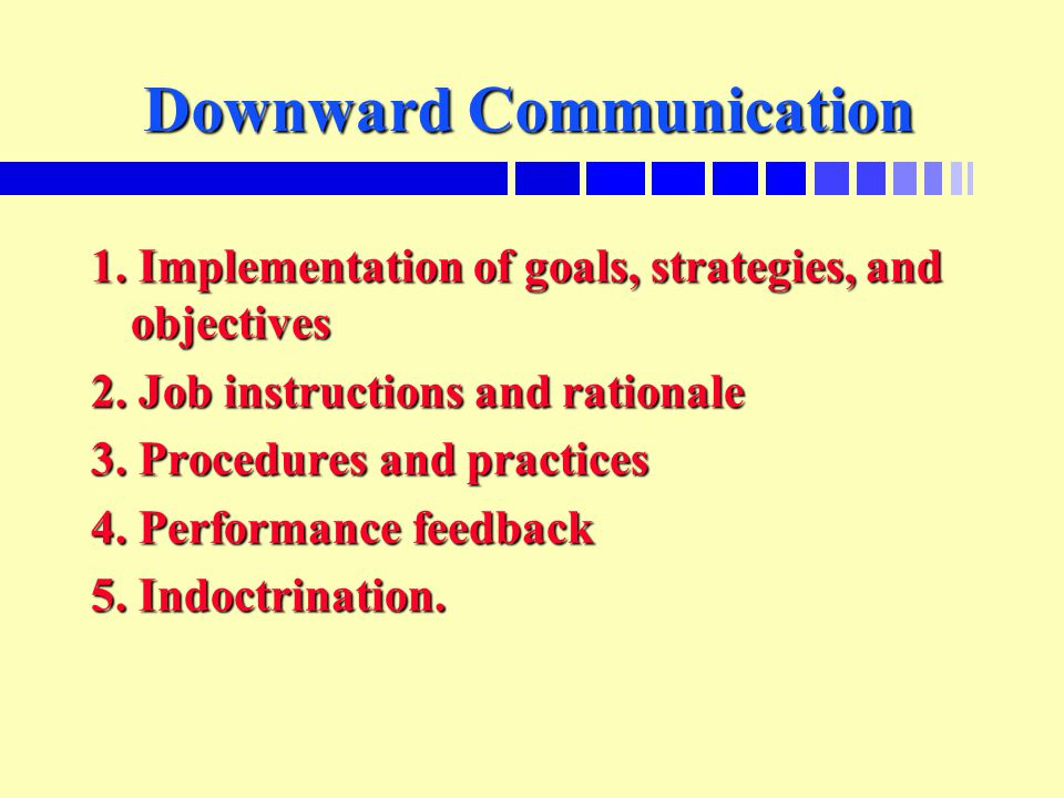 Downward Communication 1. Implementation of goals, strategies, and objectives 2.