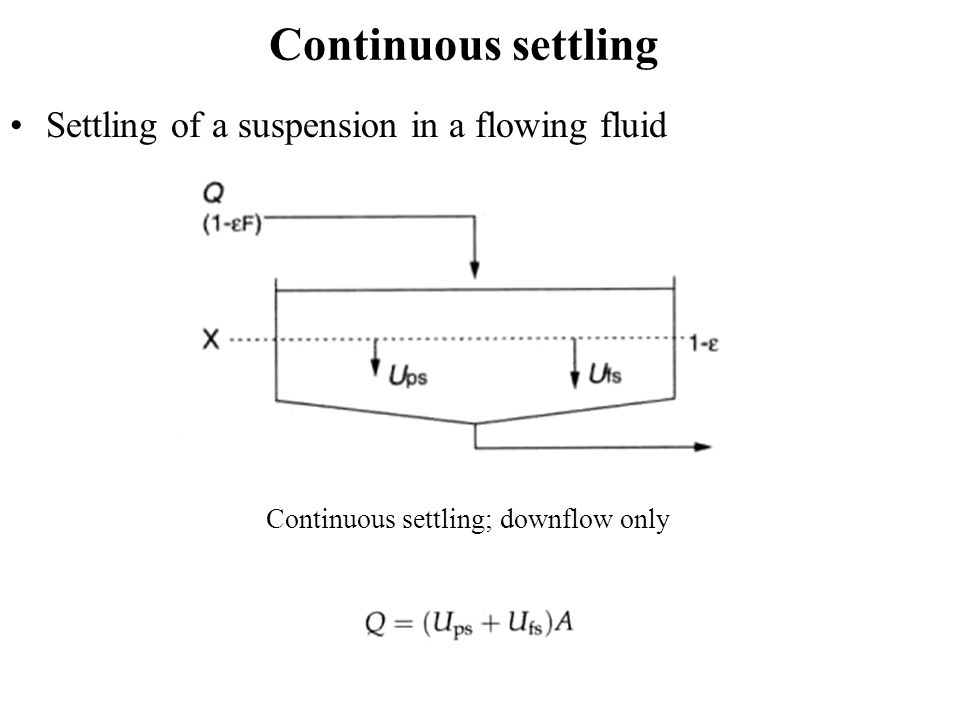 Continuous settling Settling of a suspension in a flowing fluid Continuous settling; downflow only
