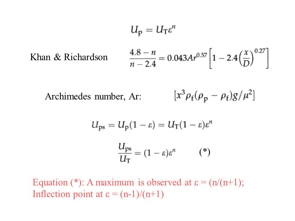 Khan & Richardson Archimedes number, Ar: Equation (*): A maximum is observed at  = (n/(n+1); Inflection point at  = (n-1)/(n+1) (*)