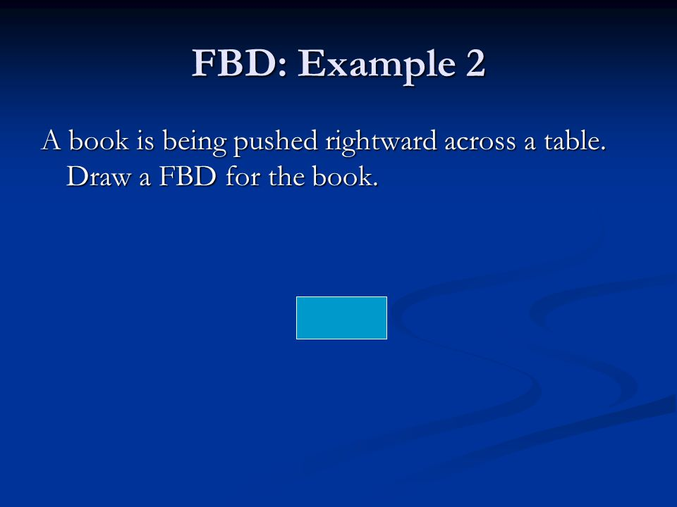 FBD: Example 2 A book is being pushed rightward across a table. Draw a FBD for the book.